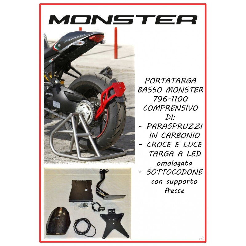 KIT Porta targa basso monobraccio per MONSTER 1100 EVO  e 796
