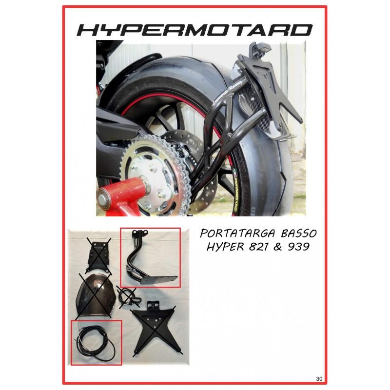 Porta targa completo di cablaggio luce targa per Hypermotard 821
