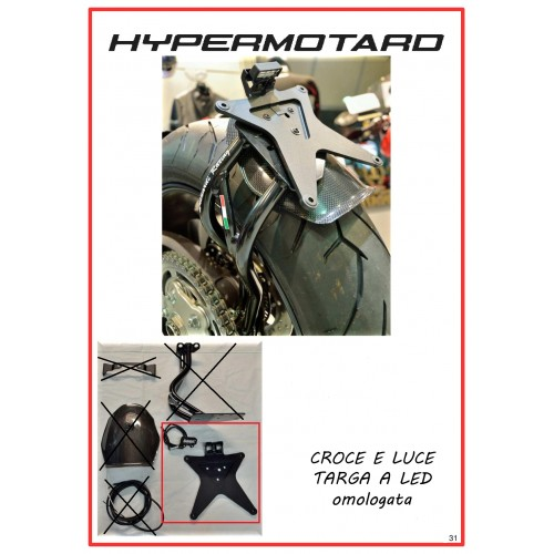 Luce targa e croce per porta targa HYPERMOTARD 796/1100