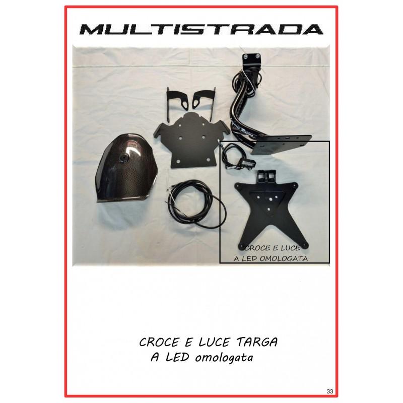 CROCE E LUCE TARGA A LED OMOLOGATA PER PORTA TARGA BASSO MULTISTRADA 1200 2010-2014